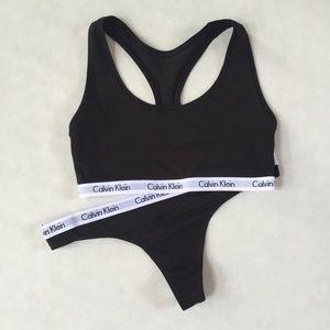 Calvin Klein Black Medium Bralette Large Thong Set